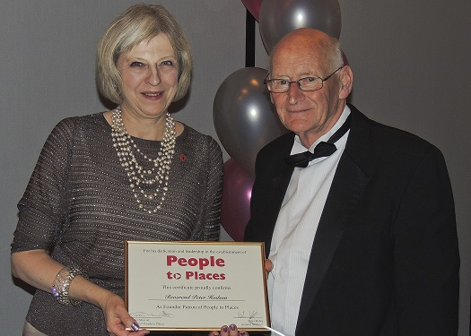 Rev. Peter Hudson and local MP Theresa May celebrating 25 years of People to Places