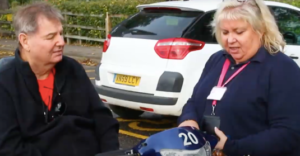 Jan with a shopmobility member