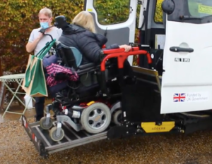 wheelchair on a taillift